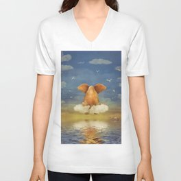 Sad elephant sitting on cloud in  sky  Unisex V-Neck