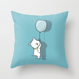 Hungry Westie Puppy Throw Pillow