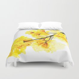 yellow trumpet trees watercolor yellow roble flowers yellow Tabebuia Duvet Cover