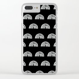 Linocut rainbow black and white half circle geometric minimalist nursery dorm college pattern Clear iPhone Case