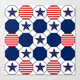 Nautical Patriotic Hexagons Canvas Print