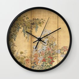 Japanese Edo Period Six-Panel Gold Leaf Screen - Spring and Autumn Flowers Wall Clock