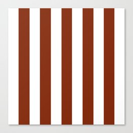 Smokey Topaz brown - solid color - white vertical lines pattern Canvas Print