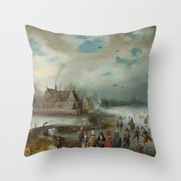 Skating on the Frozen Amstel River by Adam van Breen, 1611 Throw Pillow