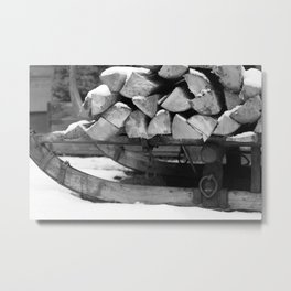 Sled with firewood, black and white photo Metal Print