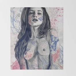 Nothing Violates This Nature: Blue (erotic drawing, nude butterfly girl) Throw Blanket