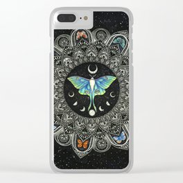 Lunar Moth Mandala with Background Clear iPhone Case