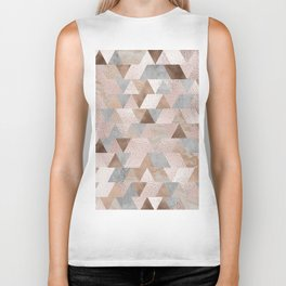 Copper and Blush Rose Gold Marble Triangles Biker Tank