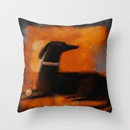 BLACK DOG ON ORANGE Throw Pillow
