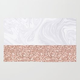 White Marble Dipped in Rose Gold Glitter Rug