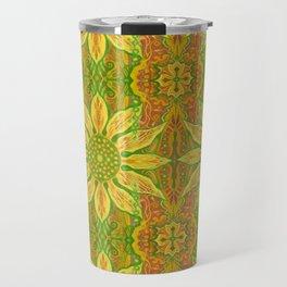 Sun Flower, bohemian floral, yellow, green & orange Travel Mug