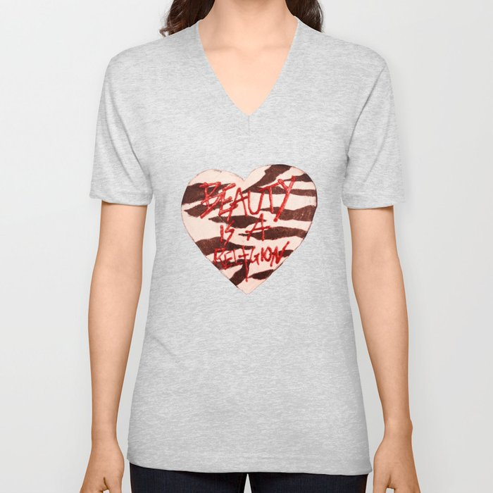 BeautyIsAReligion `ZEBRA HEART` Unisex V-Neck