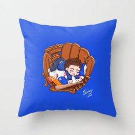 Chibi Baseball Mets Dylan O'Brien Throw Pillow