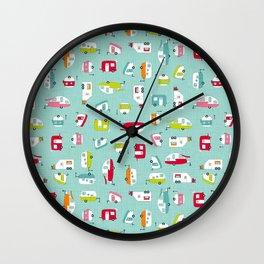 Multicolour Campers on aqua Wall Clock