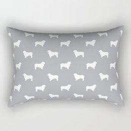 Australian Shepherd silhouette grey and white dog breed pattern simple minimal dog gifts Rectangular Pillow