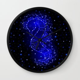 sea horse swims in lights Wall Clock
