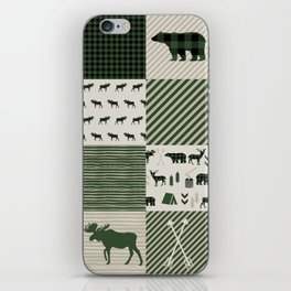 Camping hunter green plaid quilt cheater quilt baby nursery cute pattern bear moose cabin life iPhone Skin