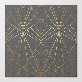 Art Deco in Gold & Grey - Large Scale Canvas Print