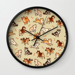 Shibas in cream Wall Clock