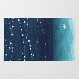 Garlands of stars, watercolor teal ocean Rug