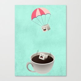 Sugar Cubes Jumping in a Cup of Coffee Canvas Print