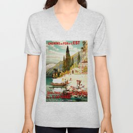 Switzerland and Italy Via St. Gotthard Travel Poster Unisex V-Neck