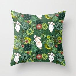 Rabbits in a Succulent Garden Throw Pillow