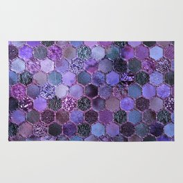 Purple geometric hexagonal elegant & luxury pattern Rug