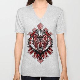 Wolf Tattoo Style Haida Art Unisex V-Neck