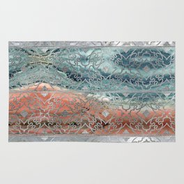 Silver glitter pattern on mother of pearl and jasper Rug