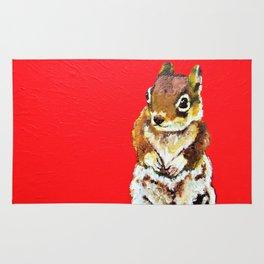 Chipmunk On a Burst of Red Rug