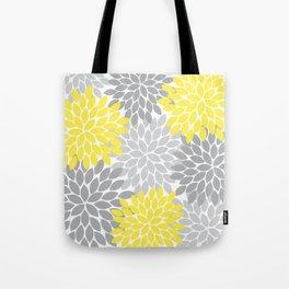 Yellow Gray Flower Burst Petals Floral Pattern Tote Bag
