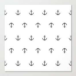 Many stamped black anchors Canvas Print