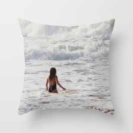 Breaking wave and girl Throw Pillow