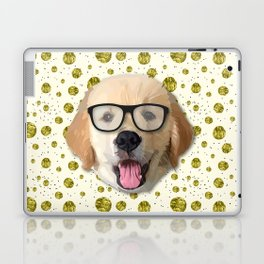 Golden Dog with Glasses Laptop & iPad Skin