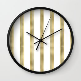 Simply luxury Gold small stripes on clear white - vertical pattern Wall Clock