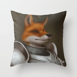 The Knight Fox Throw Pillow