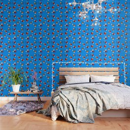 Hearts with Stitches - Blue Red Orange - Bright Blue Wallpaper