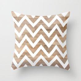 woodgrain cheveron Throw Pillow