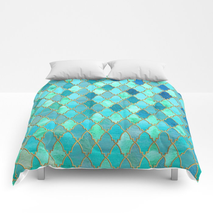 Aqua Teal Mint And Gold Oriental Moroccan Tile Pattern Comforters