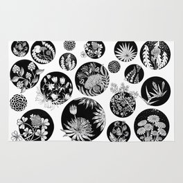 Flowers pattern ink art black and white Rug