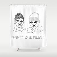 cactei Shower Curtains featuring Josh/Tyler by ☿ cactei ☿