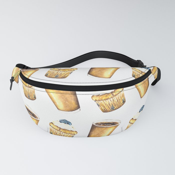Coffee and Muffin Watercolor Pattern Fanny Pack