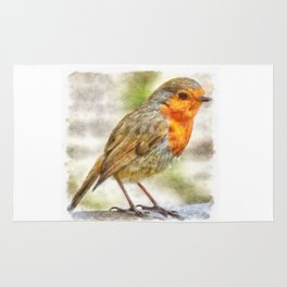 Christmas Robin Winter Watercolor Rug