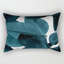 Indigo Blue Plant Leaves Rectangular Pillow