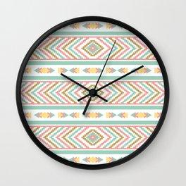 Abstract Tribal Native Geometric Pattern - Bohemian Festival Colorful Wall Clock