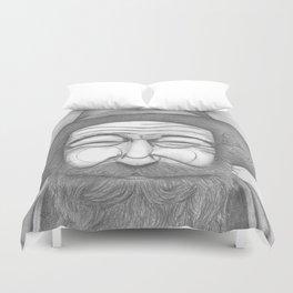 Bearded Man in Hat Duvet Cover
