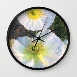 Zen White Flowers Wall Clock