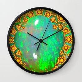 OCTOBER BIRTHSTONE GREEN FIRE OPAL & GOLD DESIGN Wall Clock