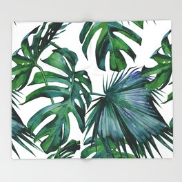 Tropical Palm Leaves Classic II Throw Blanket
